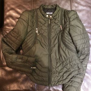 Just Cavalli army color cropped puffer jacket